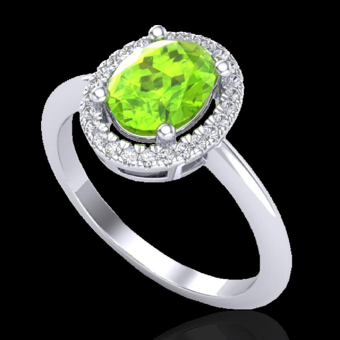 1.75 CTW Peridot & Micro VS/SI Diamond Ring Solitaire - 2
