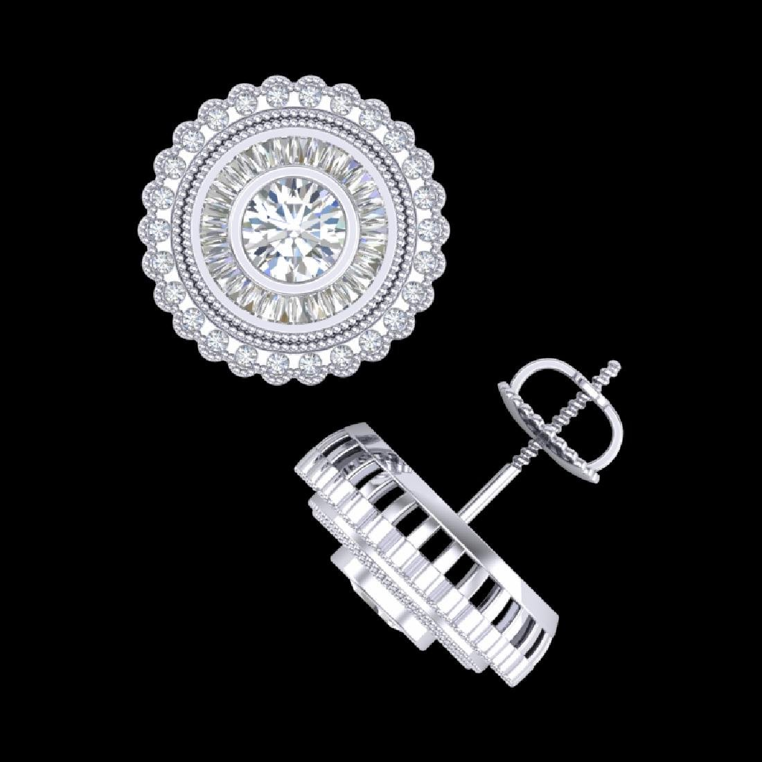 2.61 CTW VS/SI Diamond Solitaire Art Deco Stud Earrings - 3