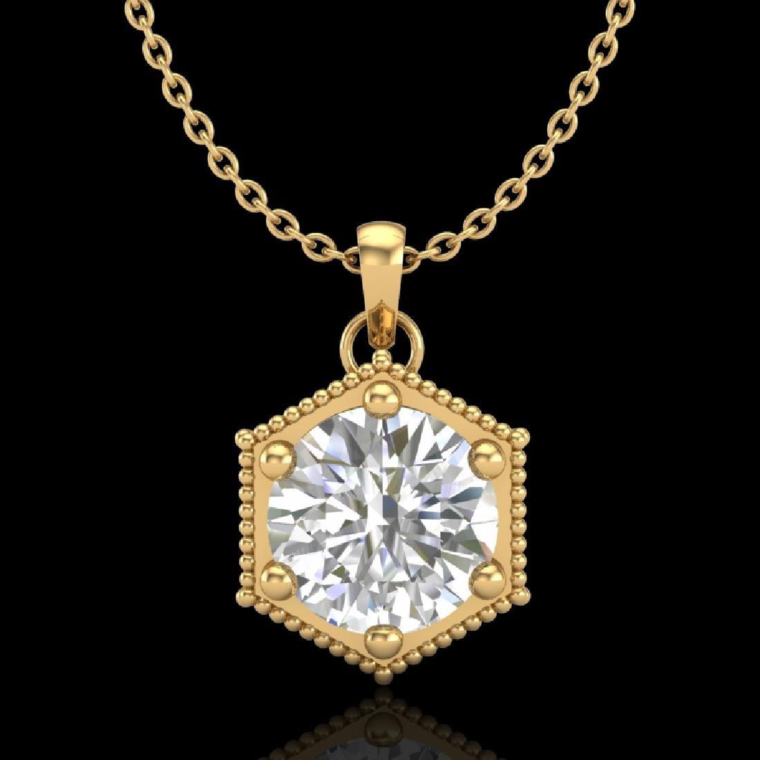 0.82 CTW VS/SI Diamond Solitaire Art Deco Stud Necklace