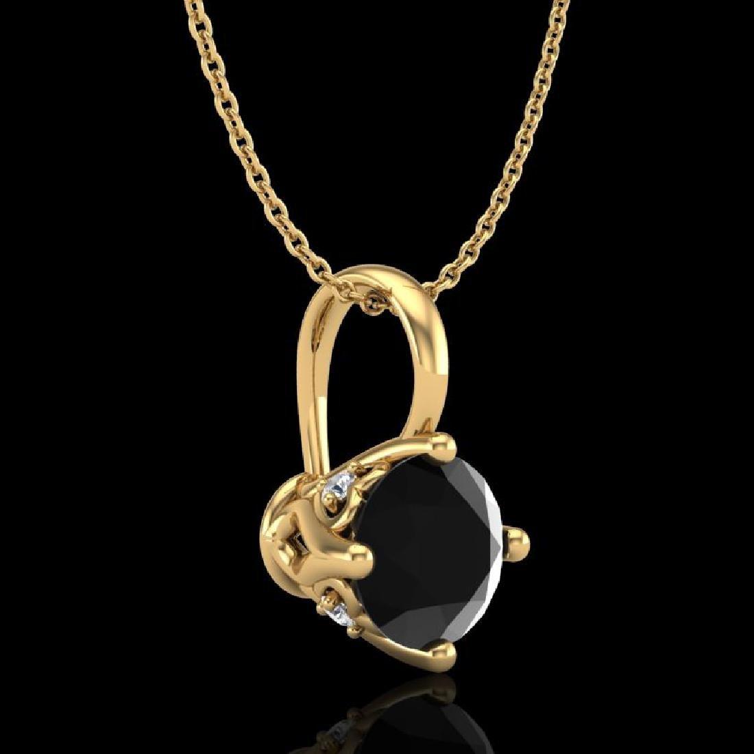 0.82 CTW Fancy Black Diamond Solitaire Art Deco Stud - 3