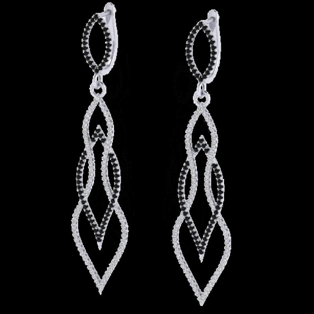 1.90 CTW Micro Pave Black & VS/SI Diamond Earrings 14K