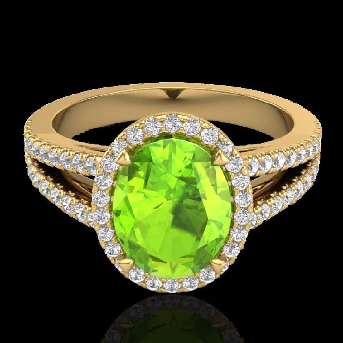 3 CTW Peridot & Micro VS/SI Diamond Halo Solitaire Ring