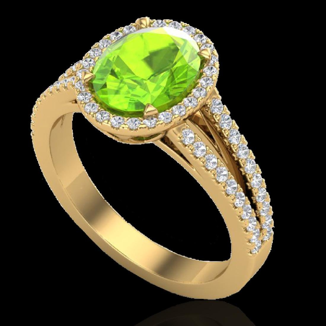 3 CTW Peridot & Micro VS/SI Diamond Halo Solitaire Ring - 2