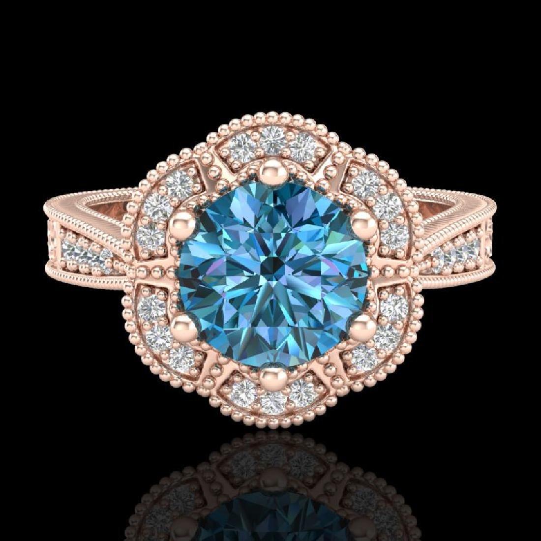 1.33 CTW Fancy Intense Blue Diamond Solitaire Art Deco - 2