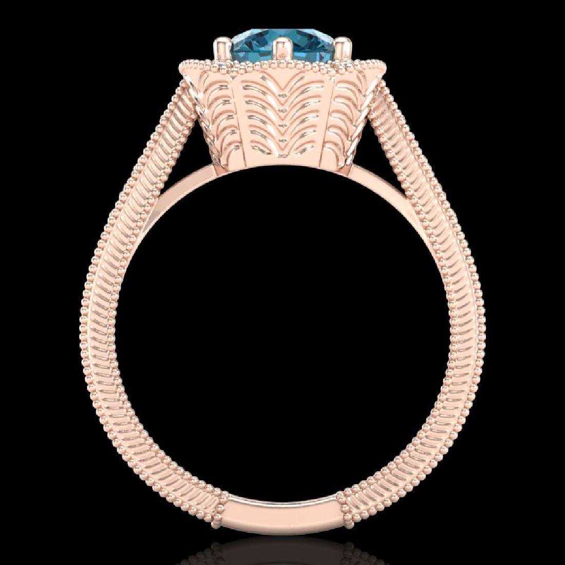 1.33 CTW Fancy Intense Blue Diamond Solitaire Art Deco - 3