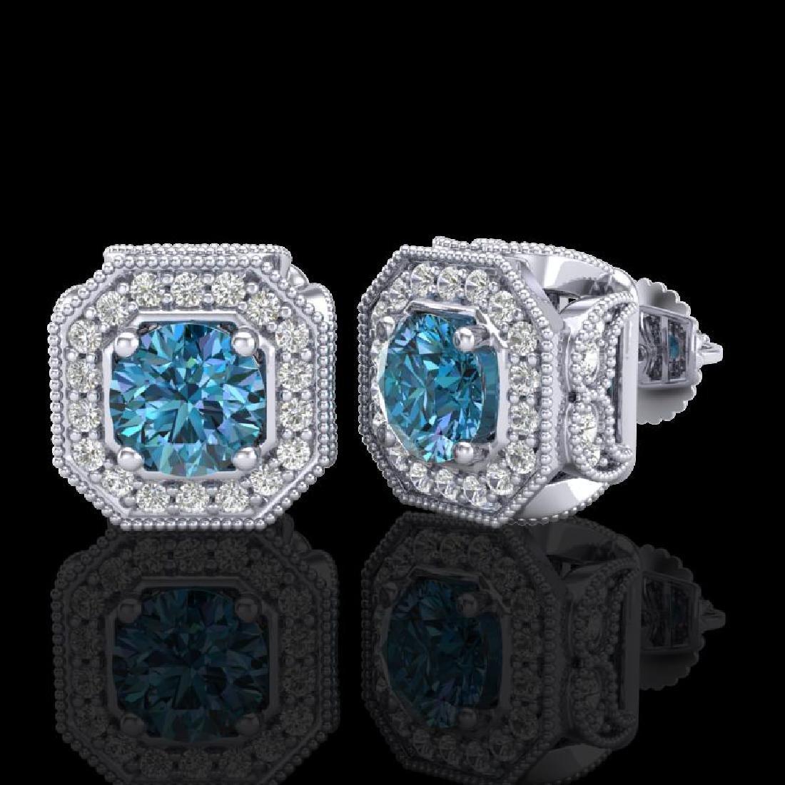 2.75 CTW Fancy Intense Blue Diamond Art Deco Stud - 2