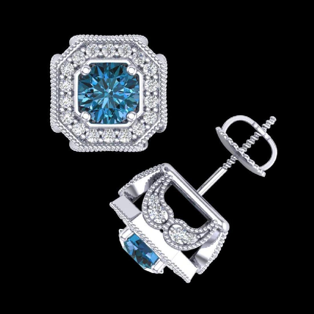 2.75 CTW Fancy Intense Blue Diamond Art Deco Stud - 3