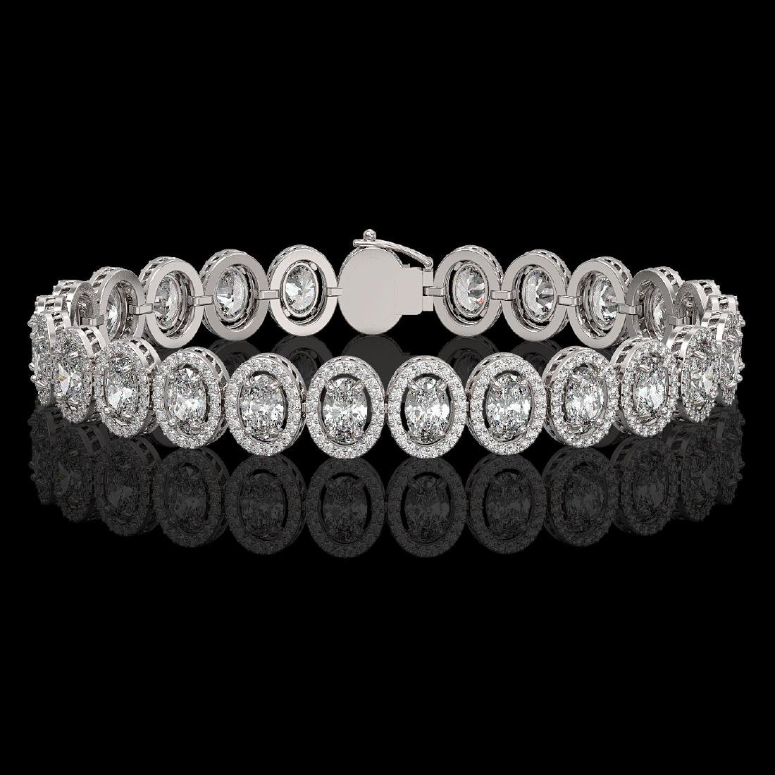 15.8 CTW Oval Diamond Designer Bracelet 18K White Gold