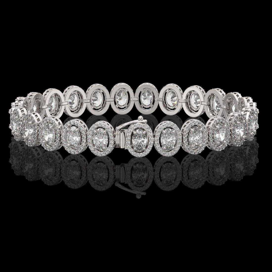15.8 CTW Oval Diamond Designer Bracelet 18K White Gold - 2