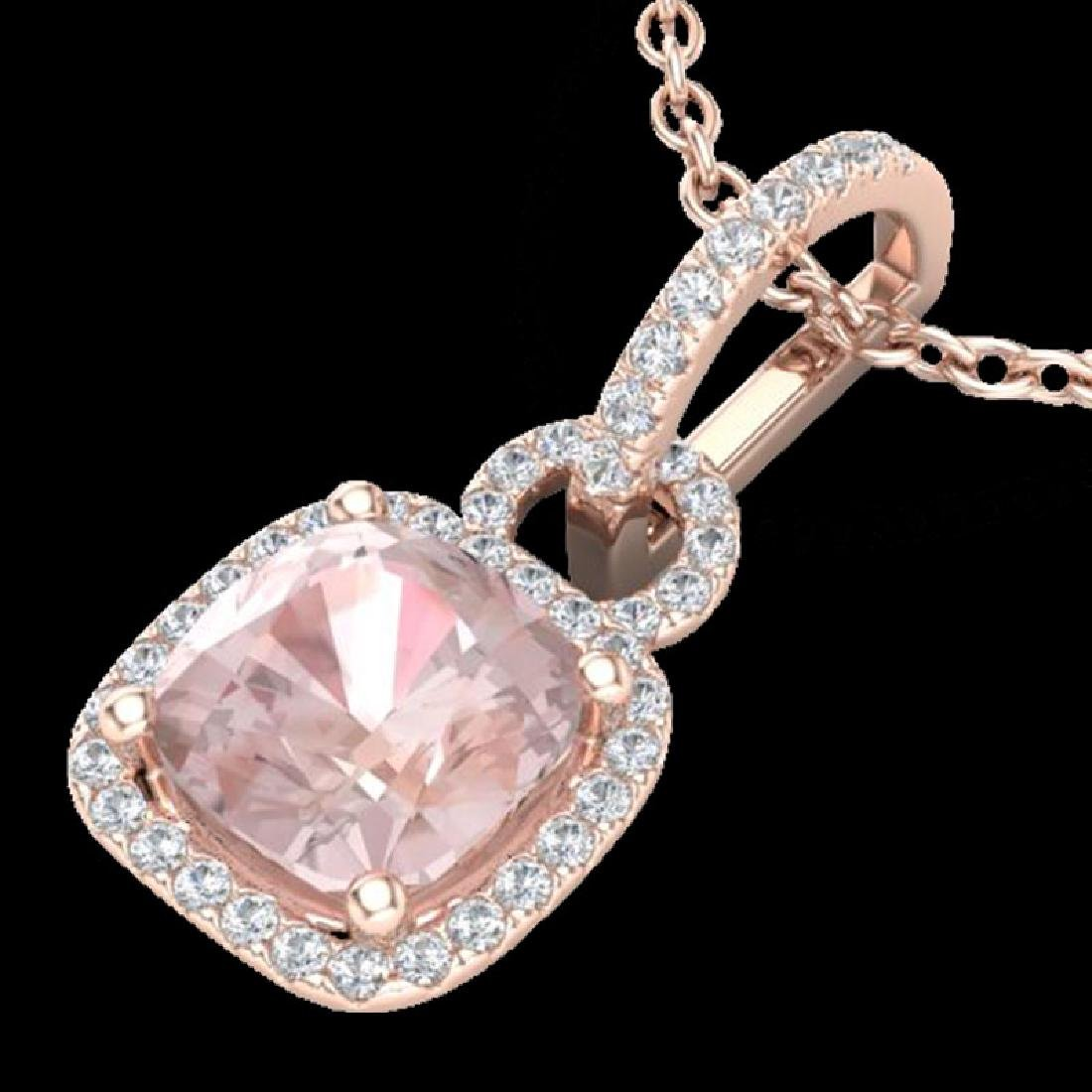 2.75 CTW Morganite & Micro VS/SI Diamond Halo Necklace