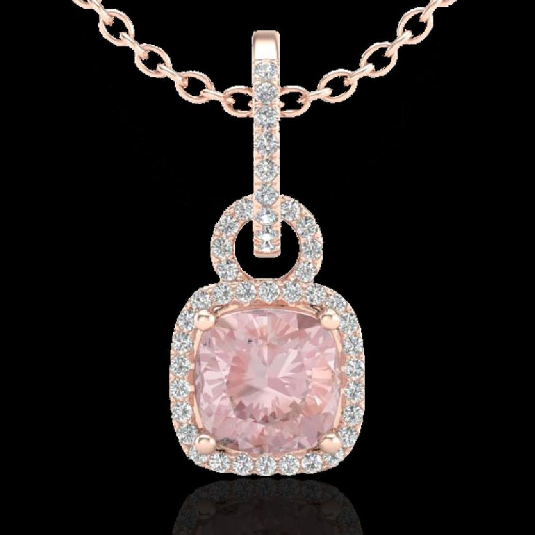 2.75 CTW Morganite & Micro VS/SI Diamond Halo Necklace - 2