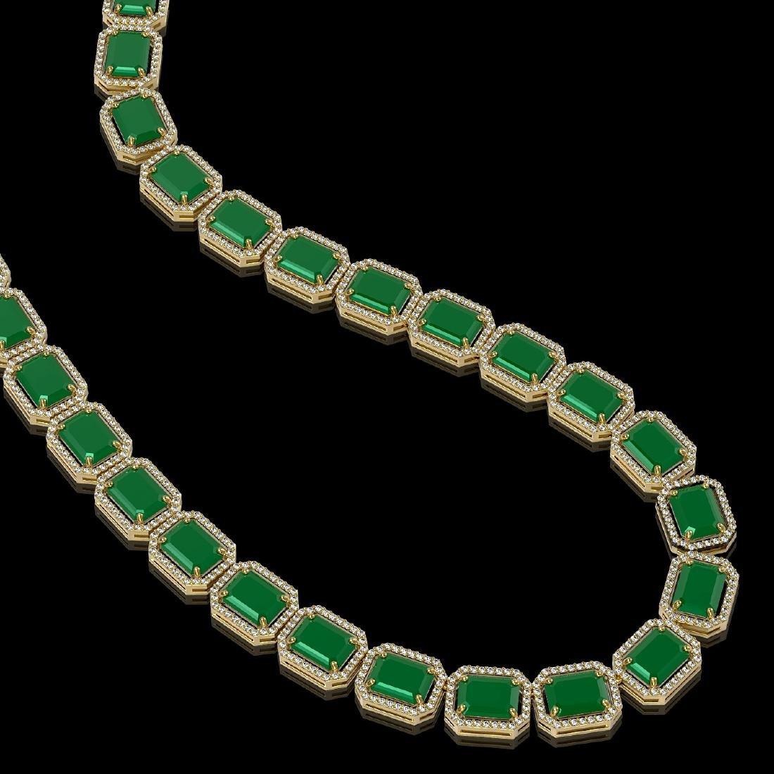 84.94 CTW Emerald & Diamond Halo Necklace 10K Yellow - 2