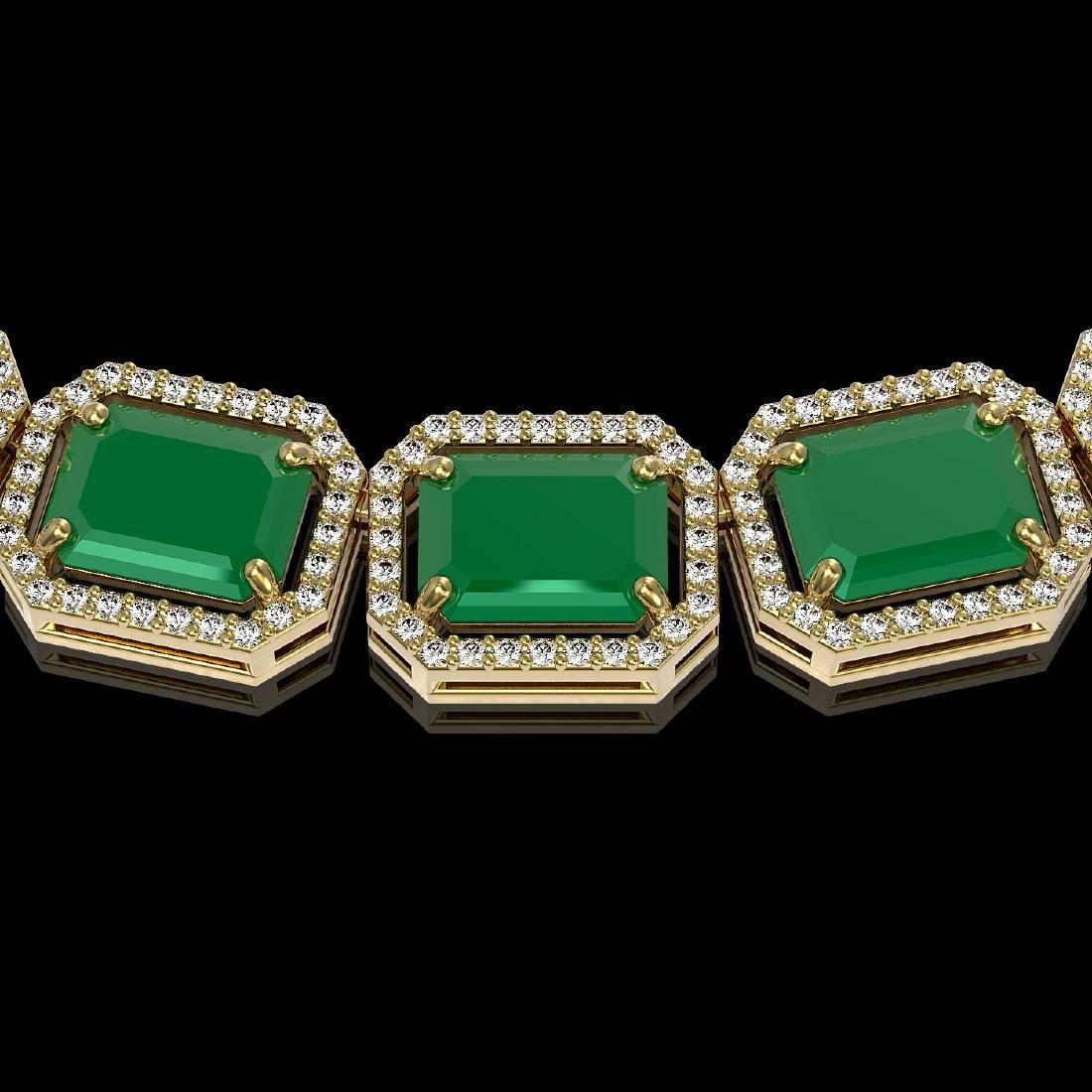 84.94 CTW Emerald & Diamond Halo Necklace 10K Yellow - 3