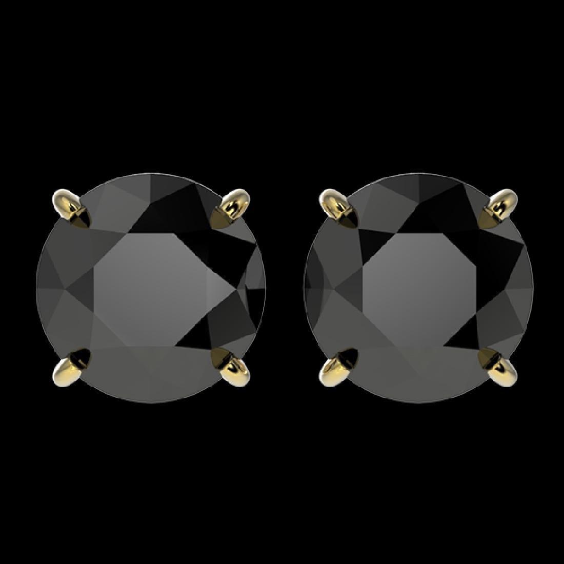 3.50 CTW Fancy Black VS Diamond Solitaire Stud Earrings