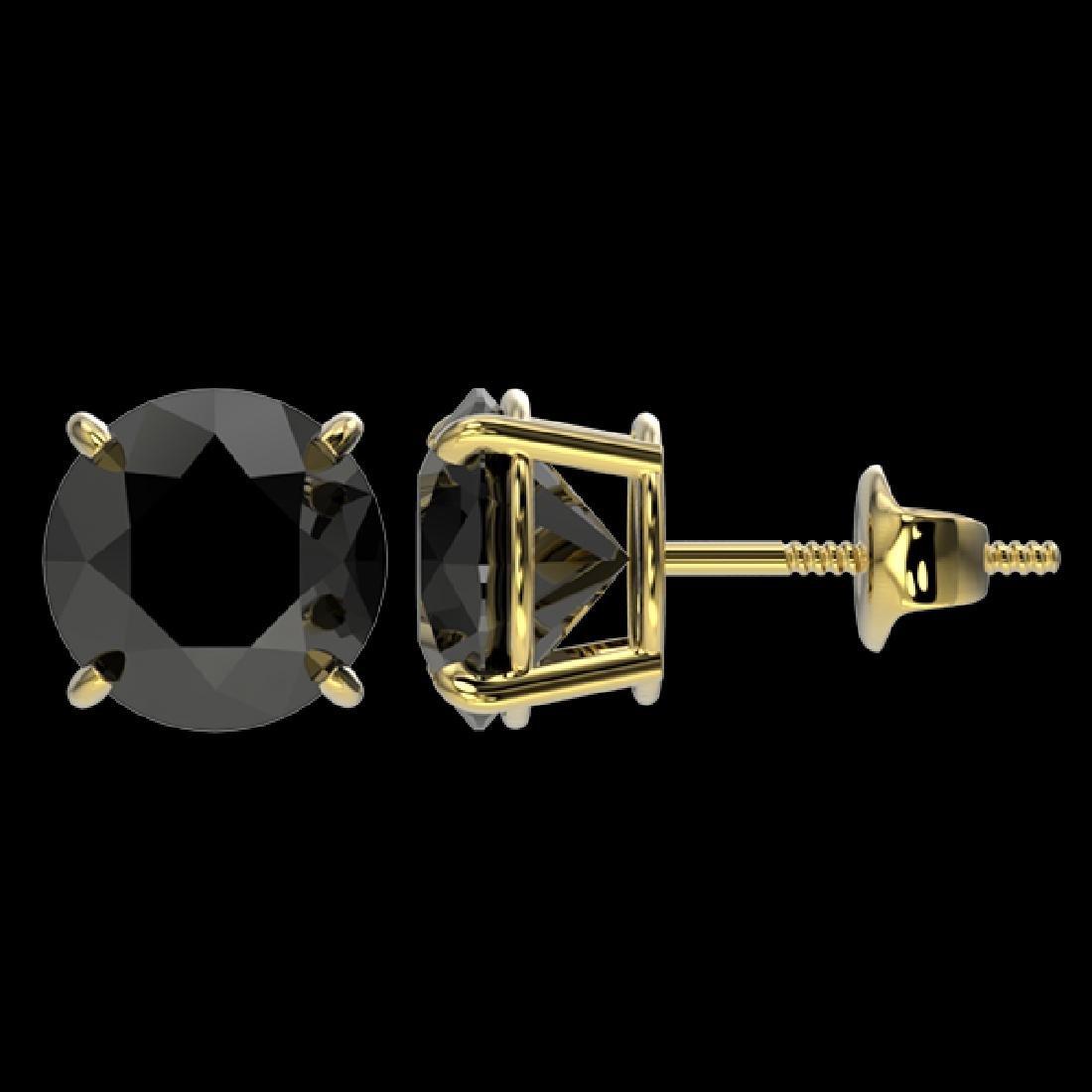3.70 CTW Fancy Black VS Diamond Solitaire Stud Earrings - 2