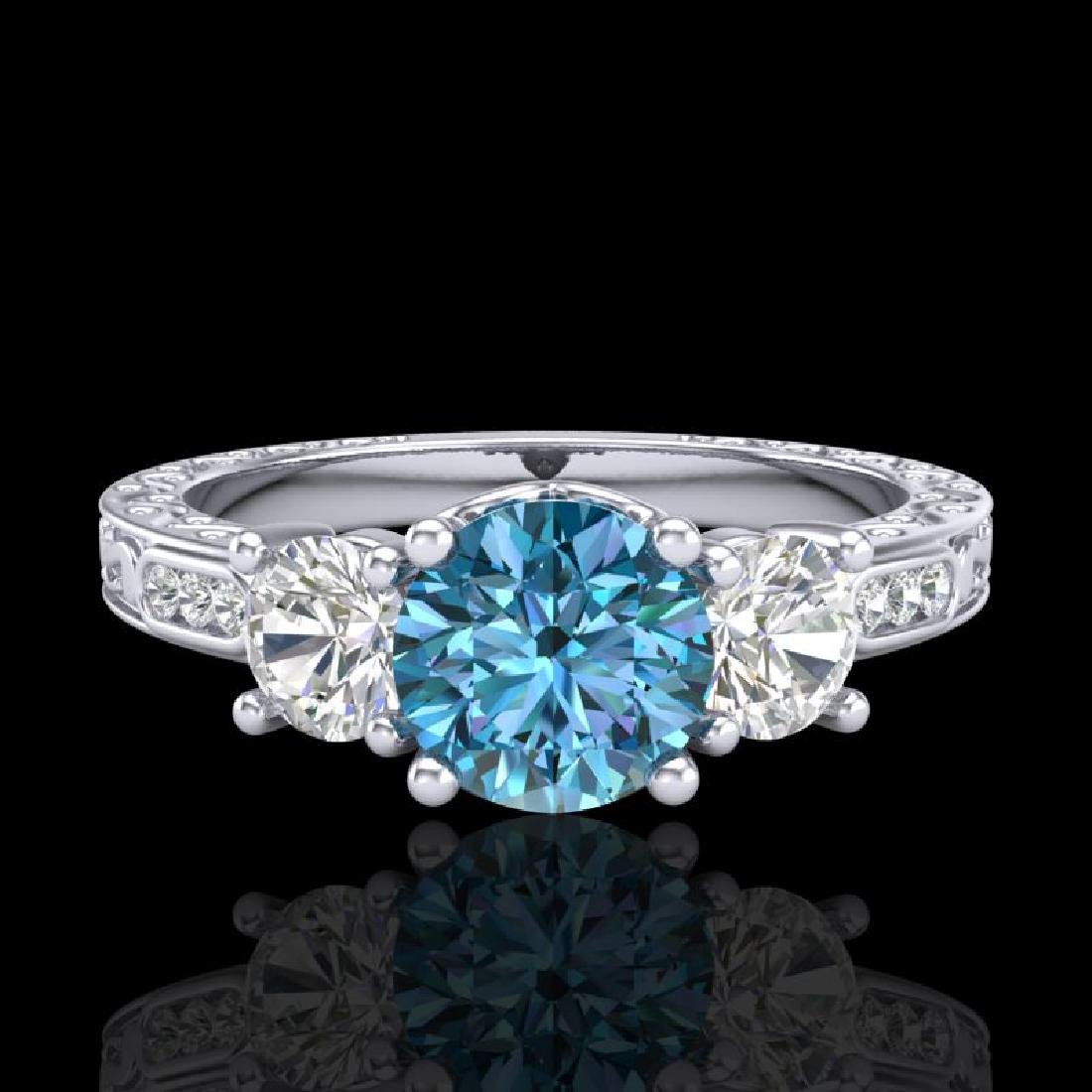1.41 CTW Intense Blue Diamond Solitaire Art Deco 3 - 2
