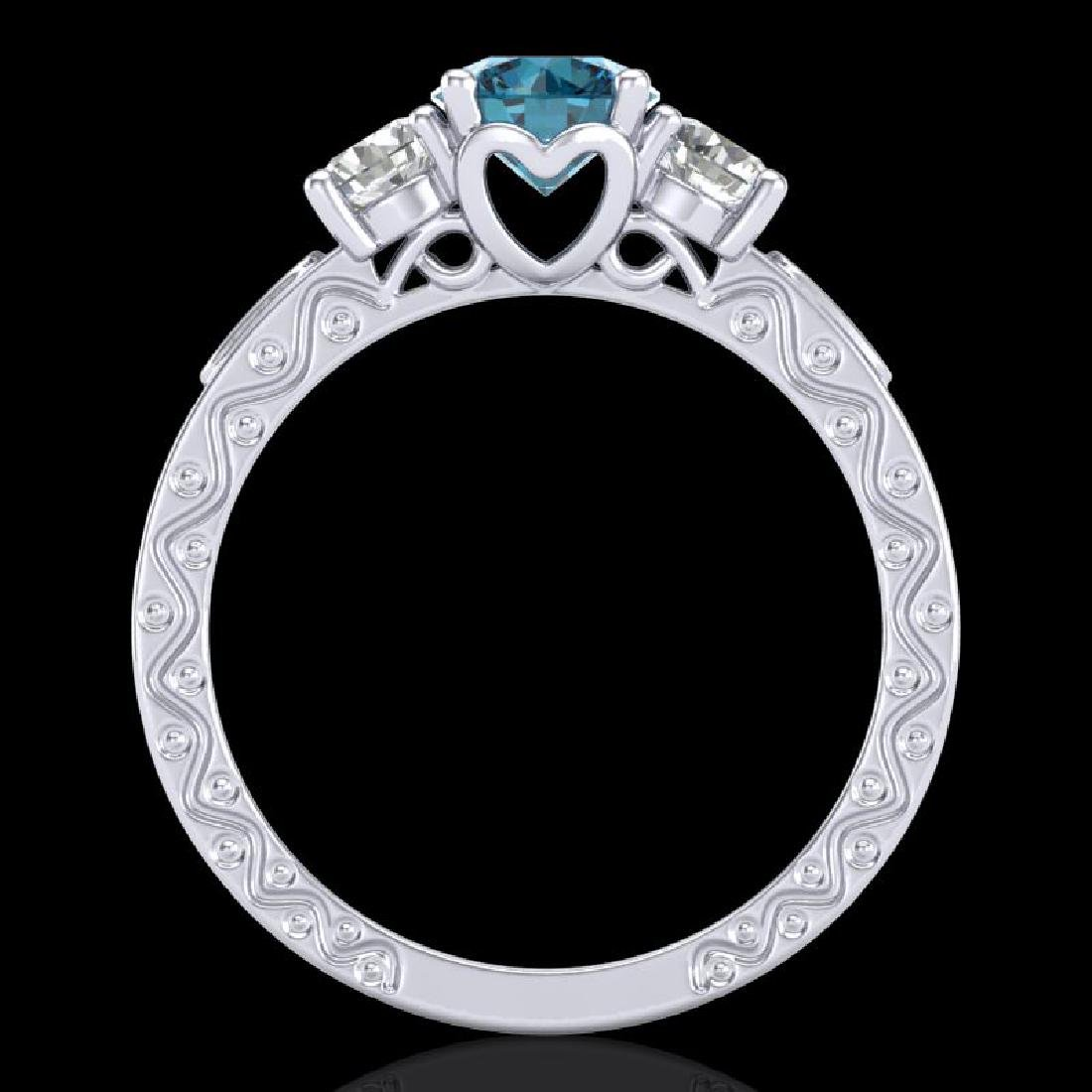 1.41 CTW Intense Blue Diamond Solitaire Art Deco 3 - 3