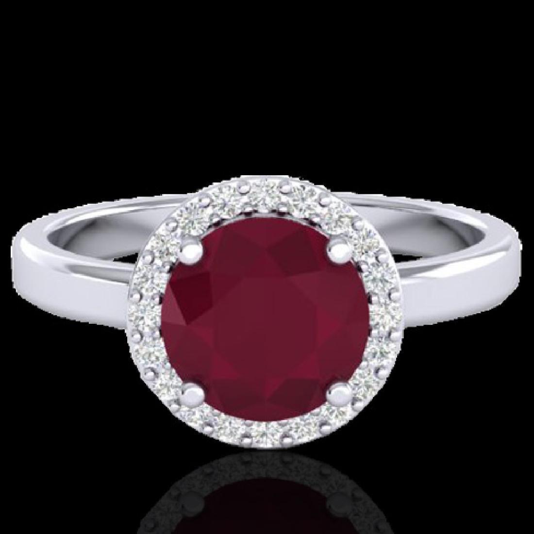 2 CTW Ruby & Halo VS/SI Diamond Micro Pave Ring