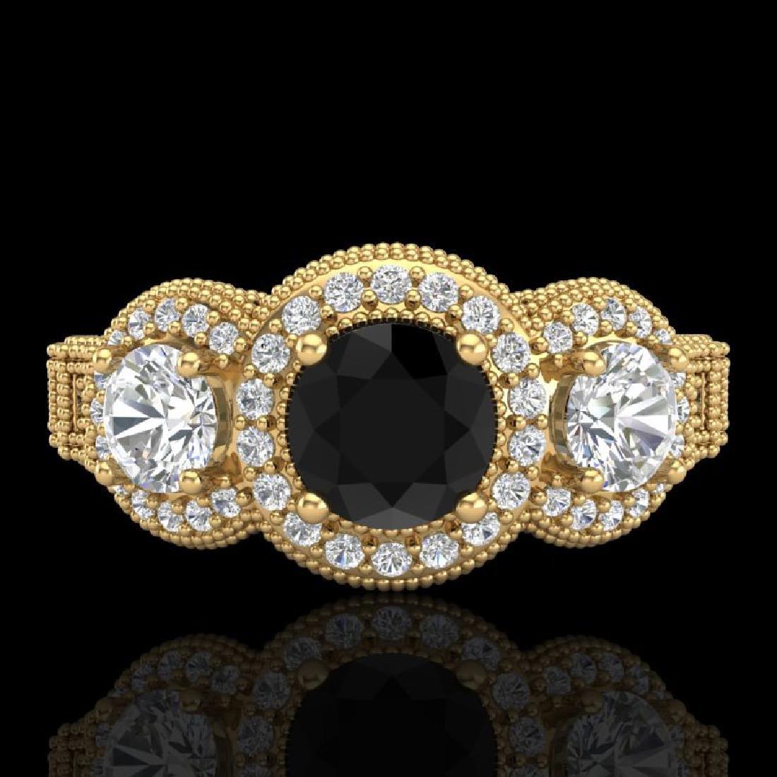 2.16 CTW Fancy Black Diamond Solitaire Art Deco 3 Stone - 2