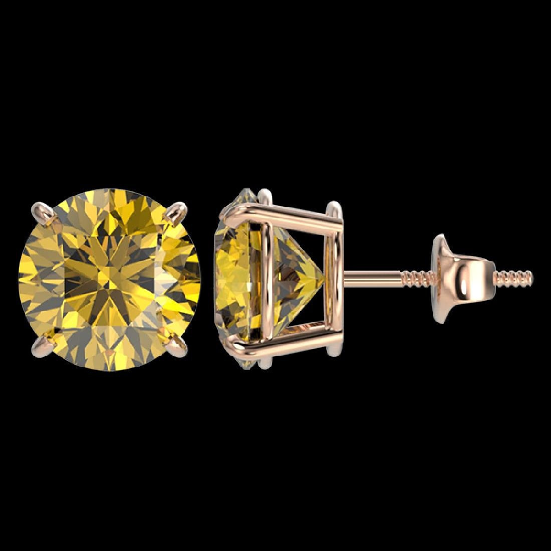 4 CTW Certified Intense Yellow SI Diamond Solitaire - 2