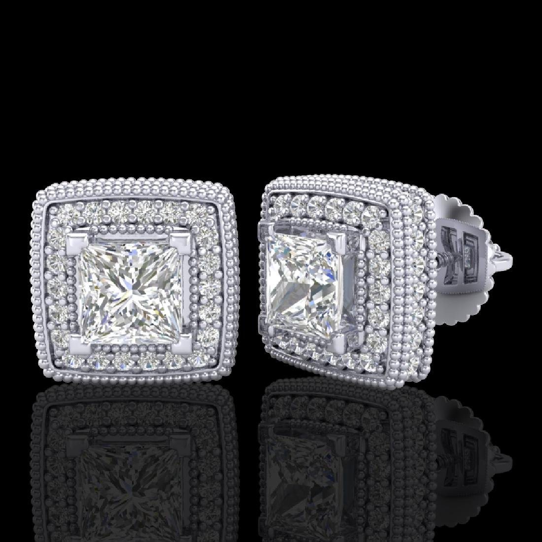 2.01 CTW Princess VS/SI Diamond Solitaire Art Deco - 2