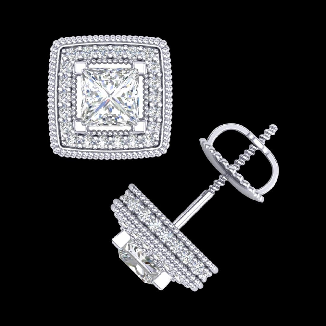 2.01 CTW Princess VS/SI Diamond Solitaire Art Deco - 3