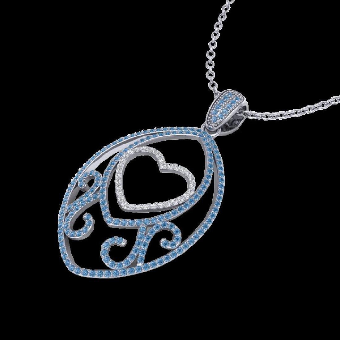 1.75 CTW Blue & White Micro Pave VS/SI Diamond Heart