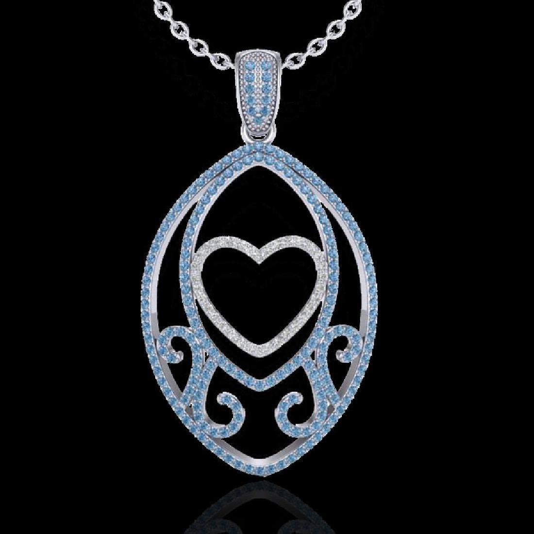 1.75 CTW Blue & White Micro Pave VS/SI Diamond Heart - 2
