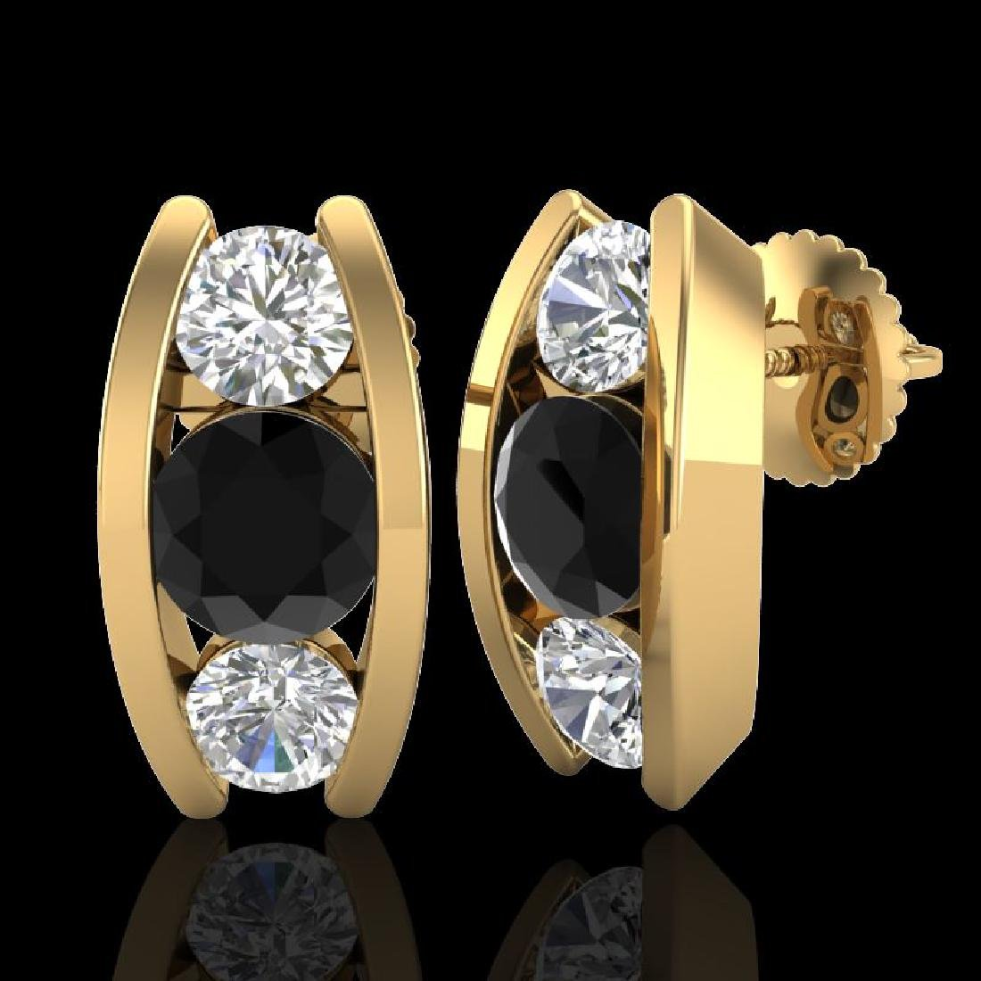 2.18 CTW Fancy Black Diamond Solitaire Art Deco Stud - 2