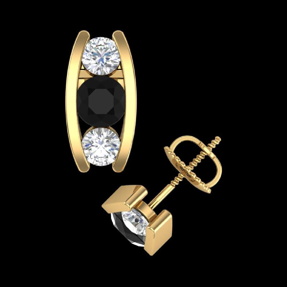 2.18 CTW Fancy Black Diamond Solitaire Art Deco Stud - 3
