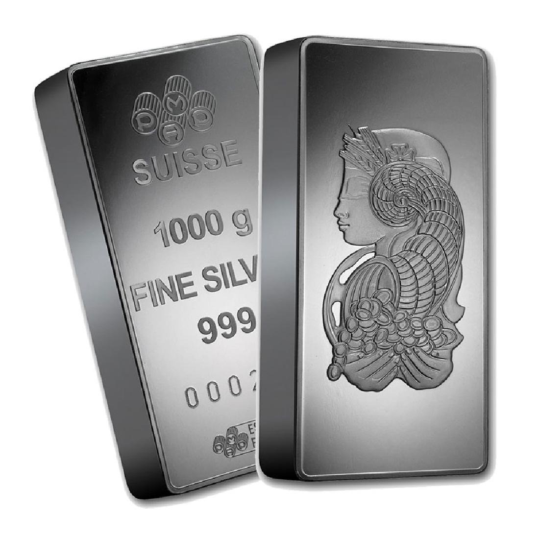 One piece 1 kilo 0.999 Fine Silver Bar PAMP Suisse