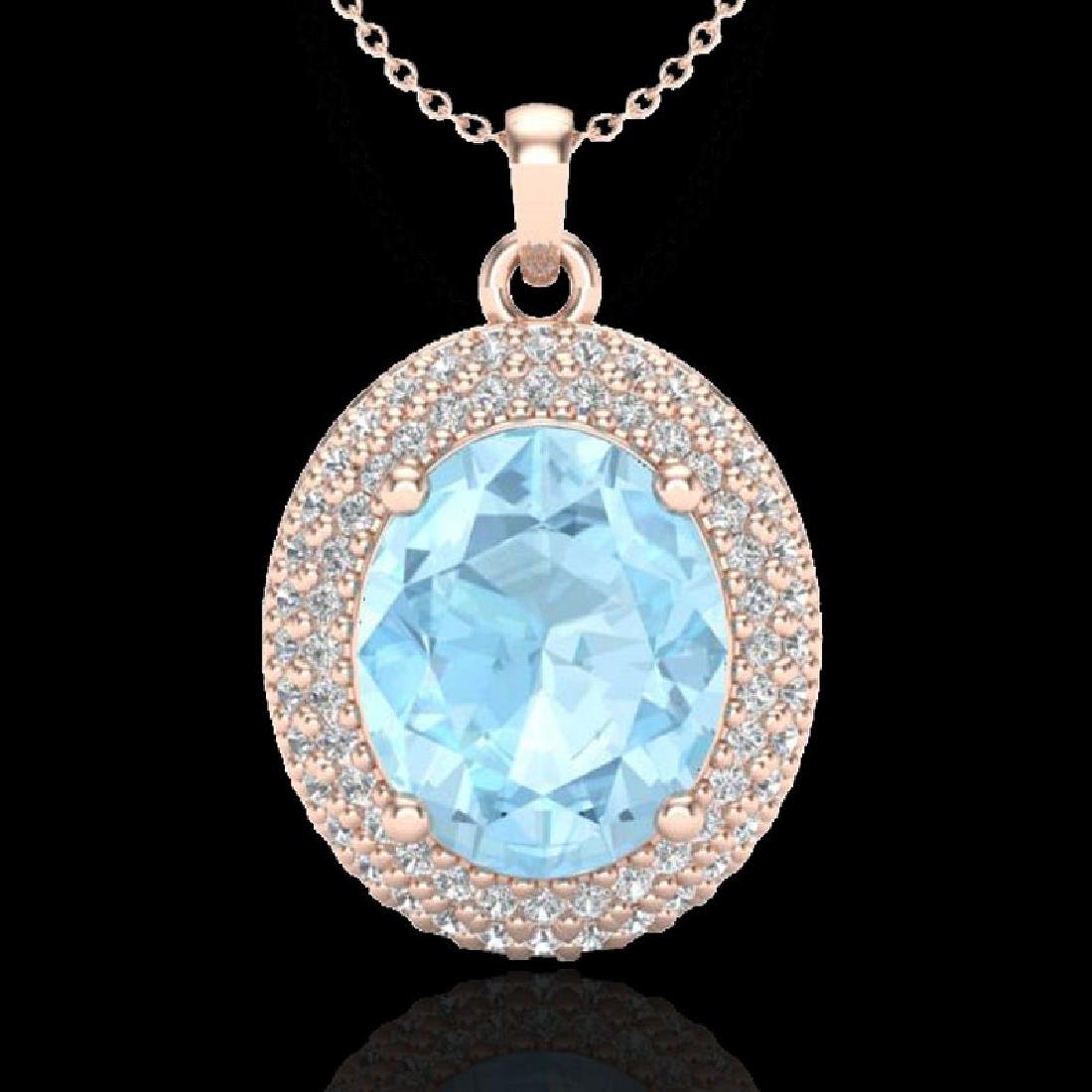 4 CTW Aquamarine & Micro Pave VS/SI Diamond Necklace