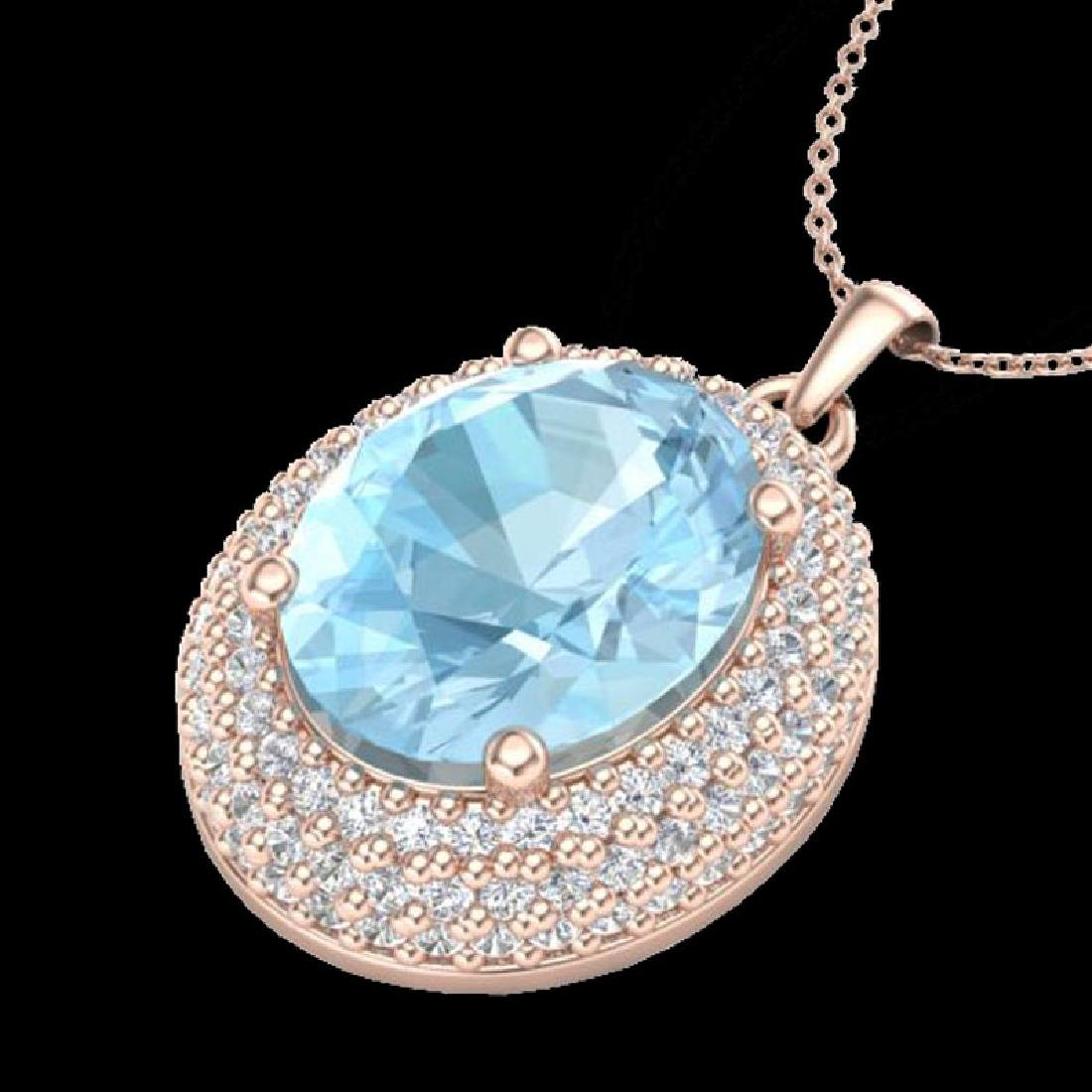 4 CTW Aquamarine & Micro Pave VS/SI Diamond Necklace - 2