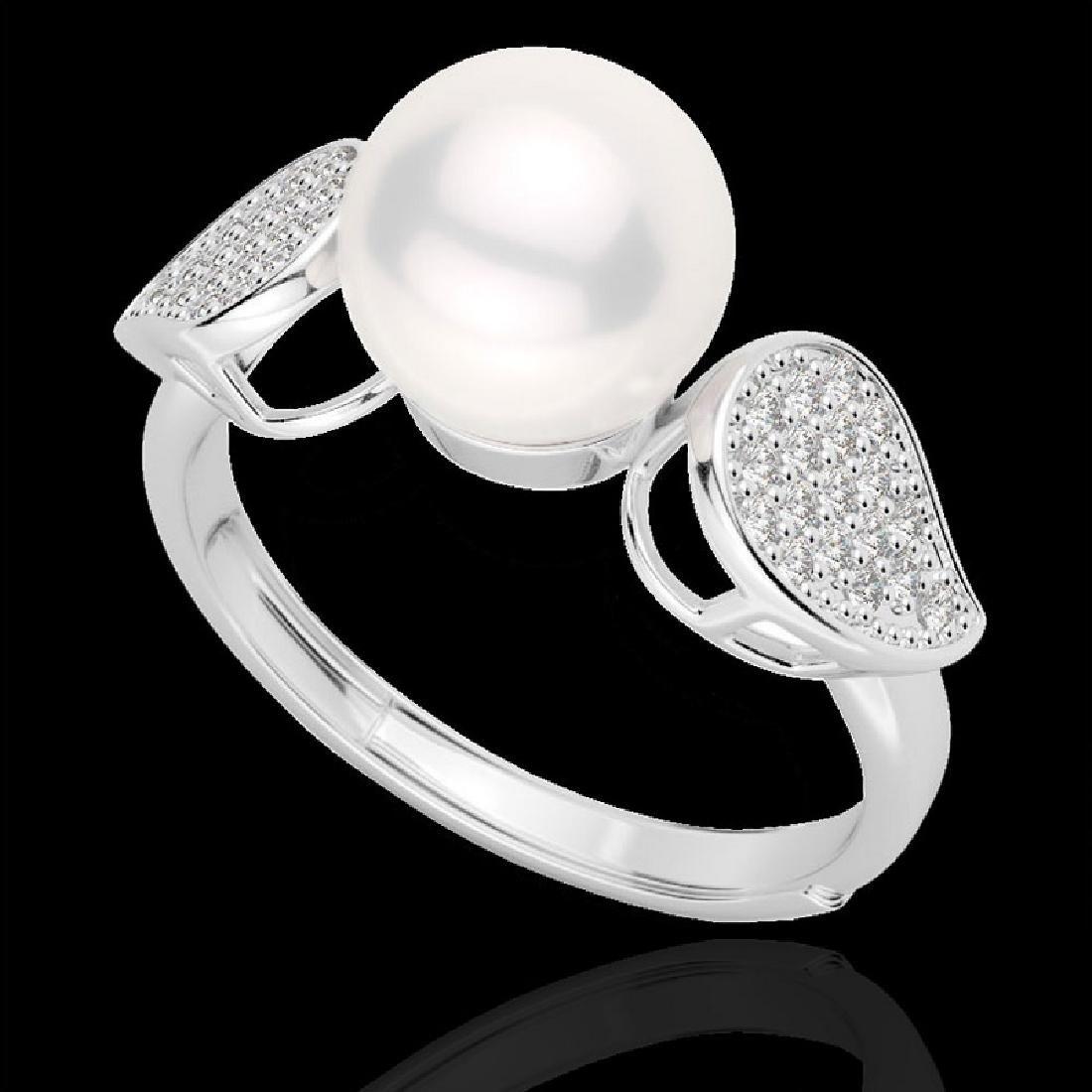 0.27 CTW Micro Pave VS/SI Diamond & Pearl Designer Ring - 2
