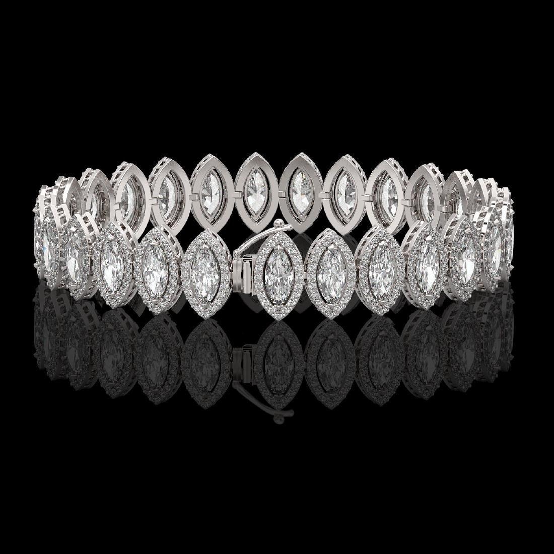 17.55 CTW Marquise Diamond Designer Bracelet 18K White - 2