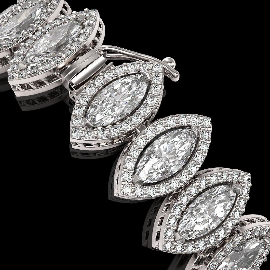 17.55 CTW Marquise Diamond Designer Bracelet 18K White - 3