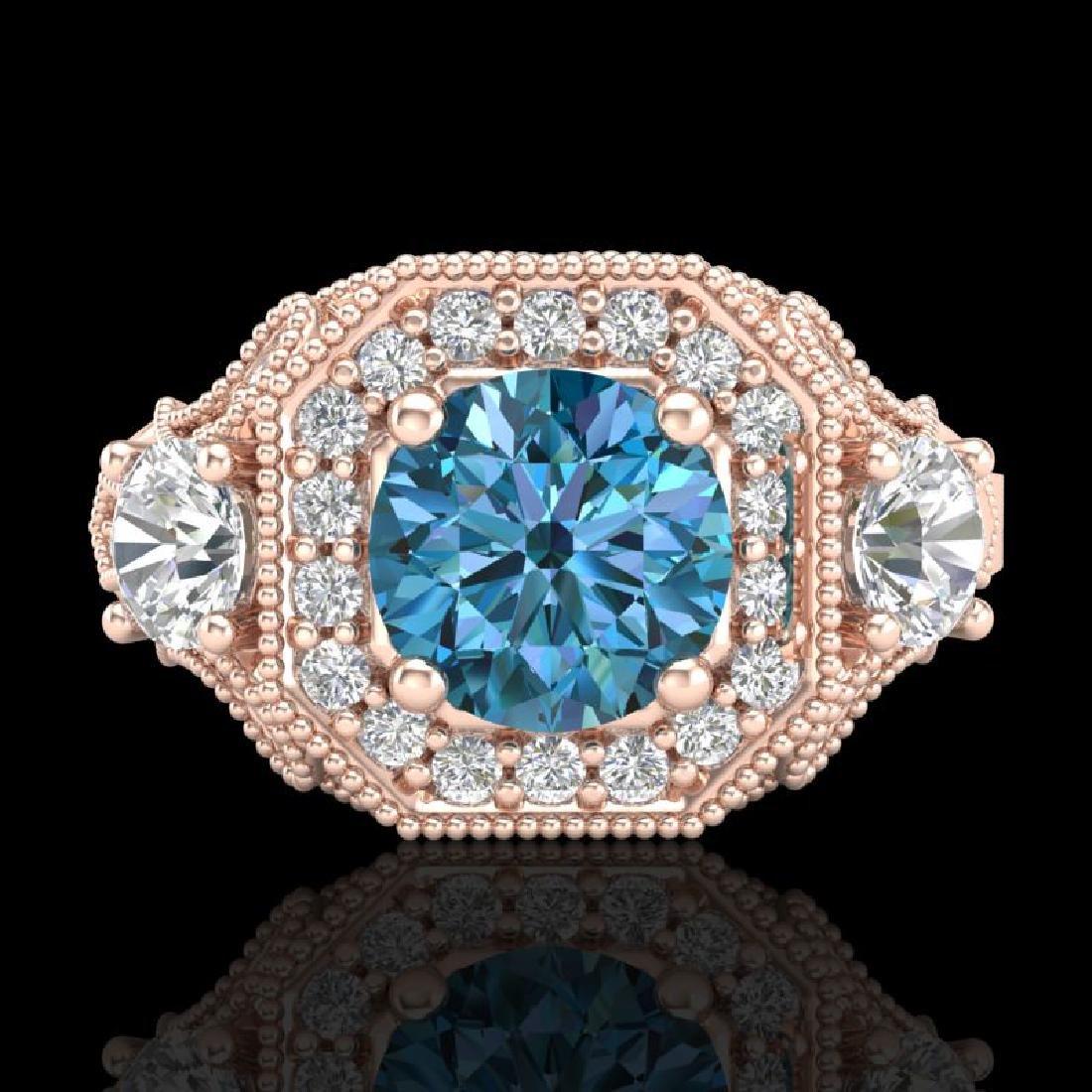 2.11 CTW Intense Blue Diamond Solitaire Art Deco 3 - 2