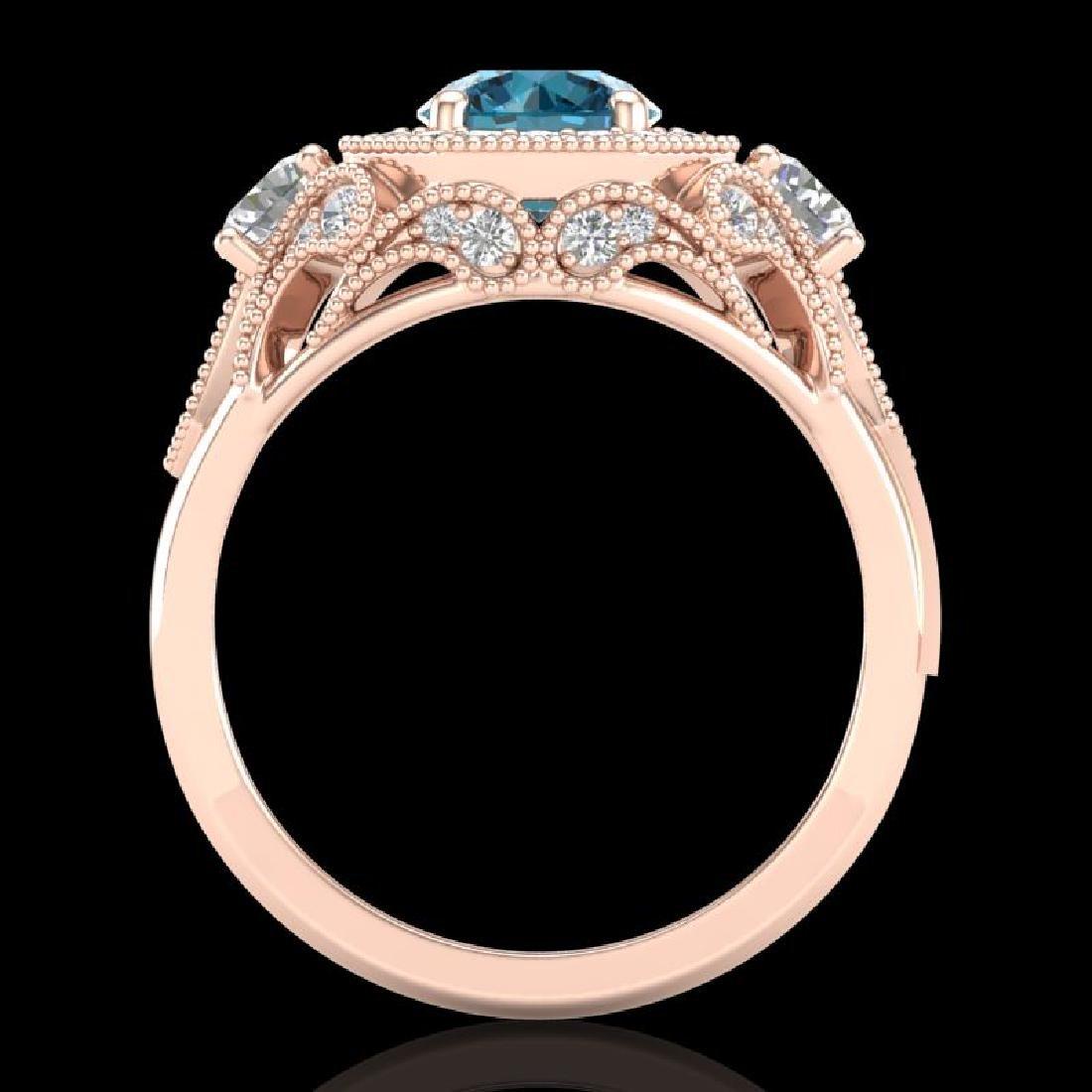 2.11 CTW Intense Blue Diamond Solitaire Art Deco 3 - 3