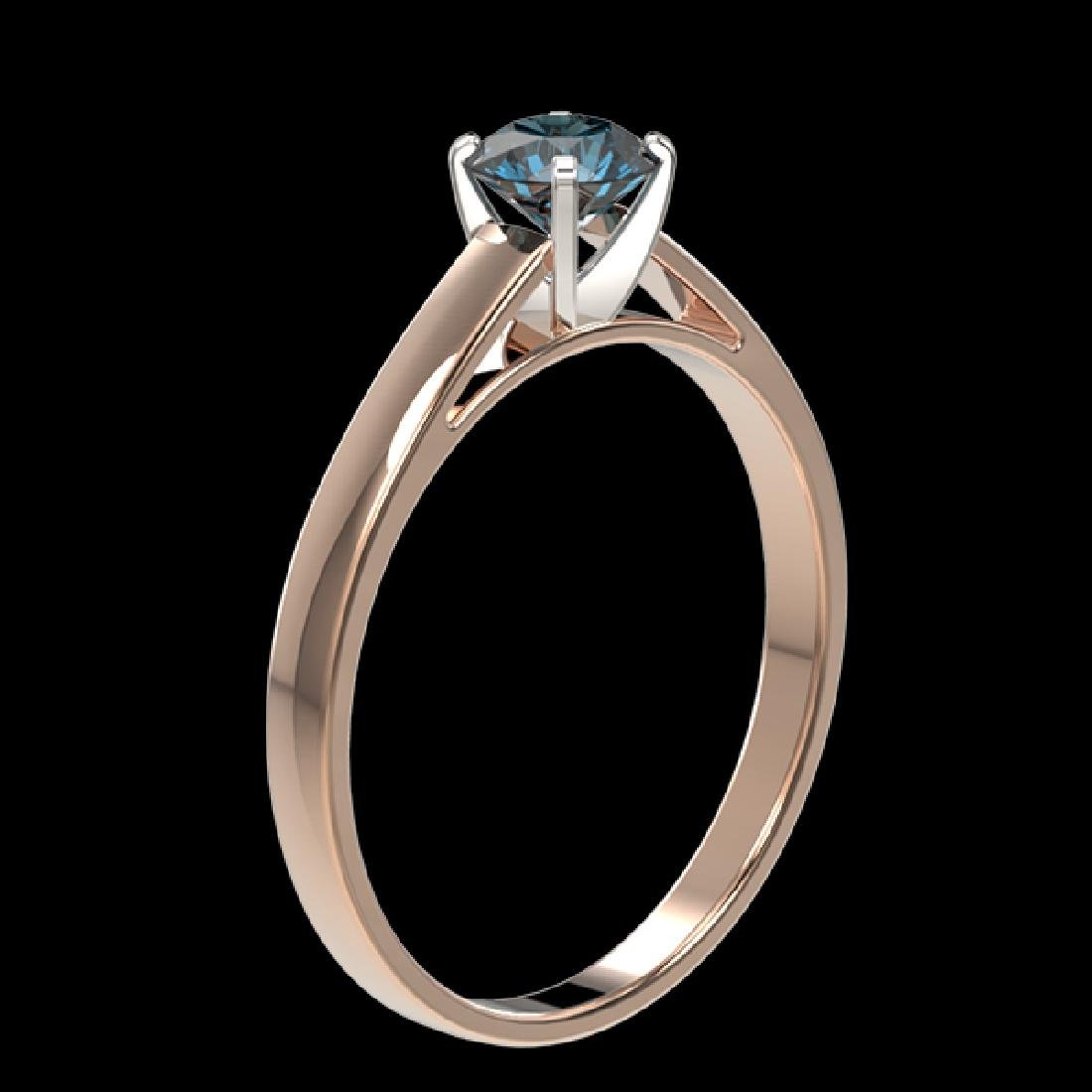 0.54 CTW Certified Intense Blue SI Diamond Solitaire - 3