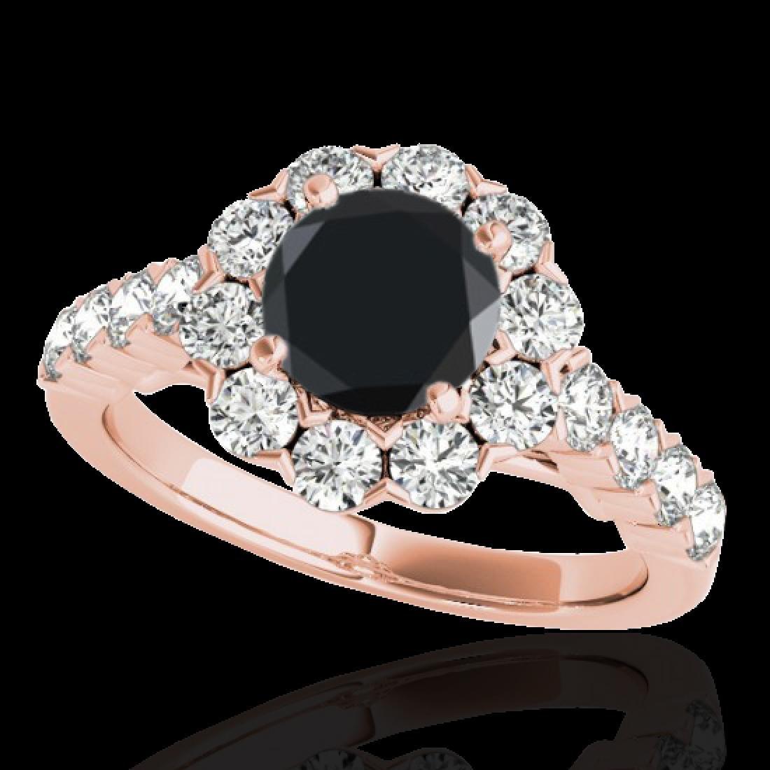 2.35 CTW Certified VS Black Diamond Solitaire Halo Ring