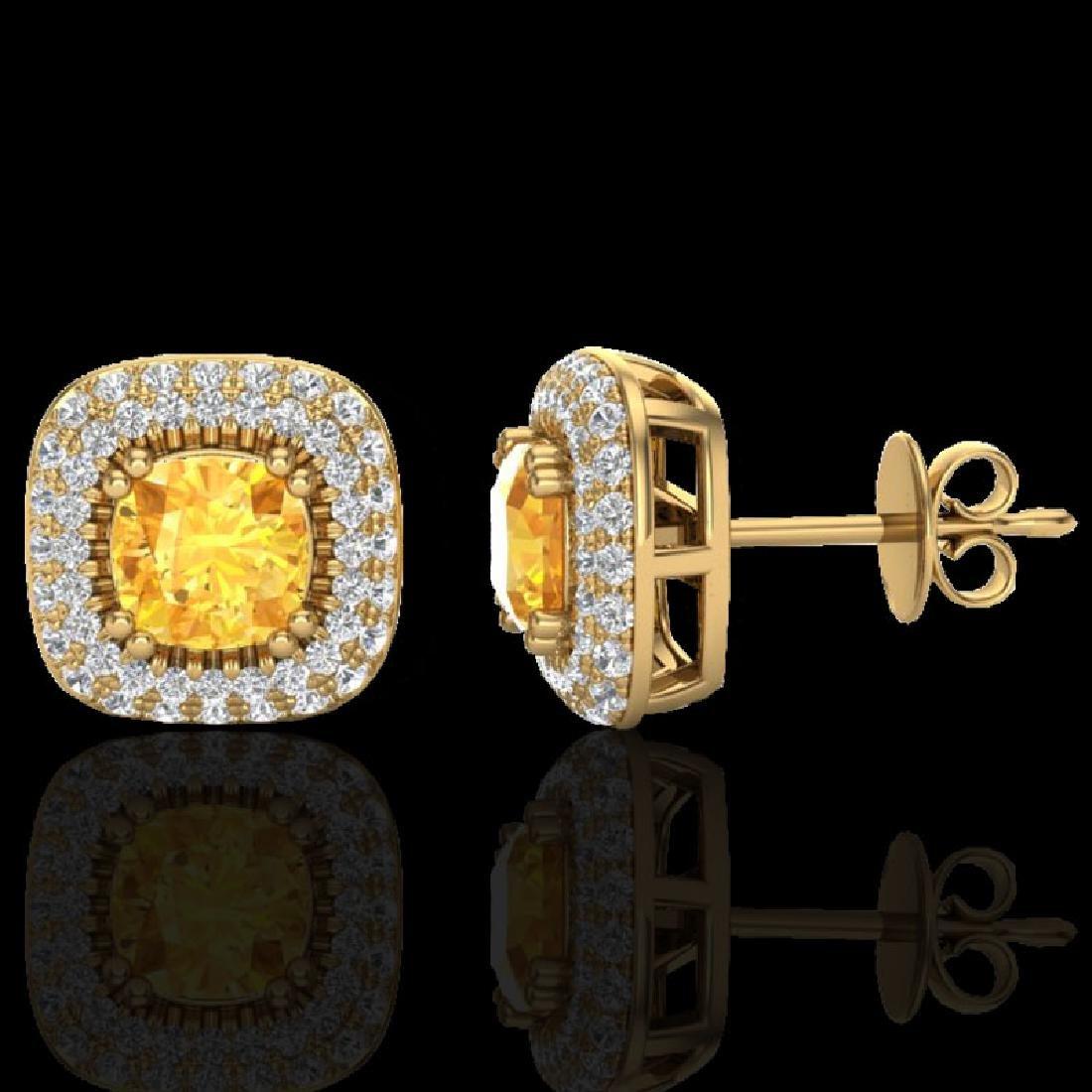 2.16 CTW Citrine & Micro VS/SI Diamond Earrings Double - 2