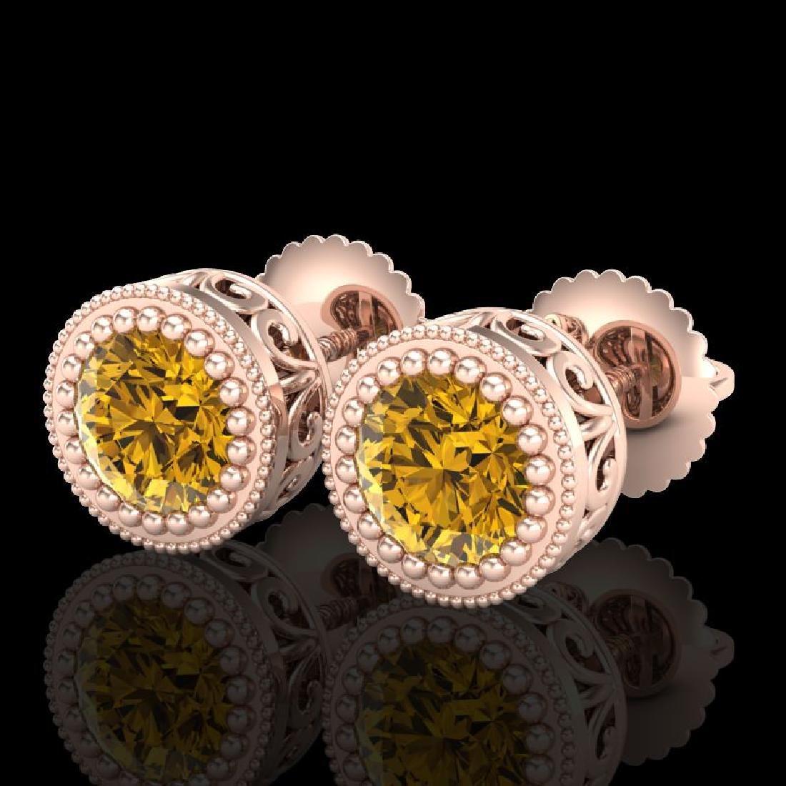 1.09 CTW Intense Fancy Yellow Diamond Art Deco Stud