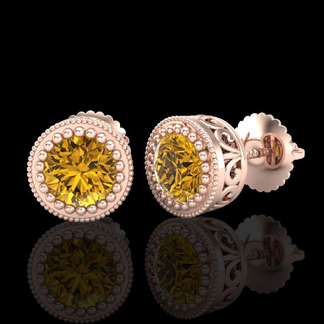 1.09 CTW Intense Fancy Yellow Diamond Art Deco Stud - 2