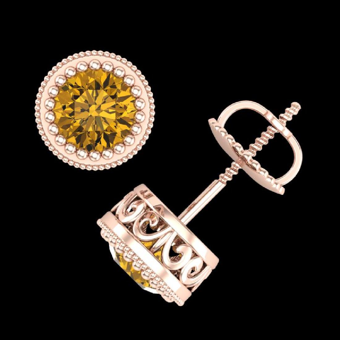 1.09 CTW Intense Fancy Yellow Diamond Art Deco Stud - 3