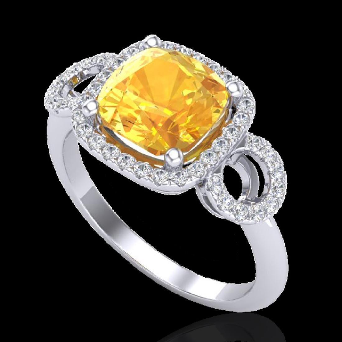 3.75 CTW Citrine & Micro VS/SI Diamond Ring 18K White - 2