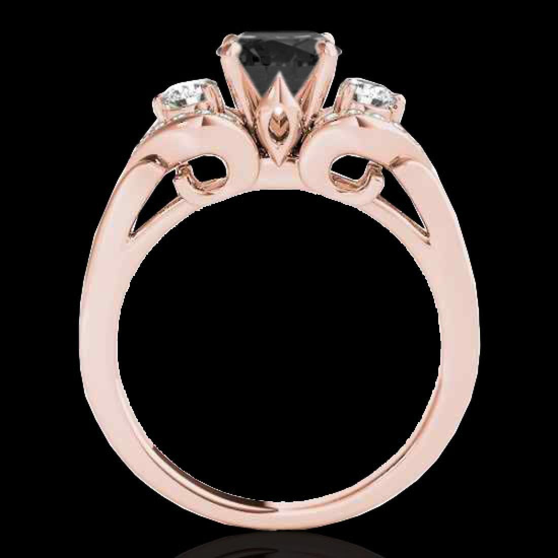 1.45 CTW Certified VS Black Diamond 3 Stone Ring 10K - 2