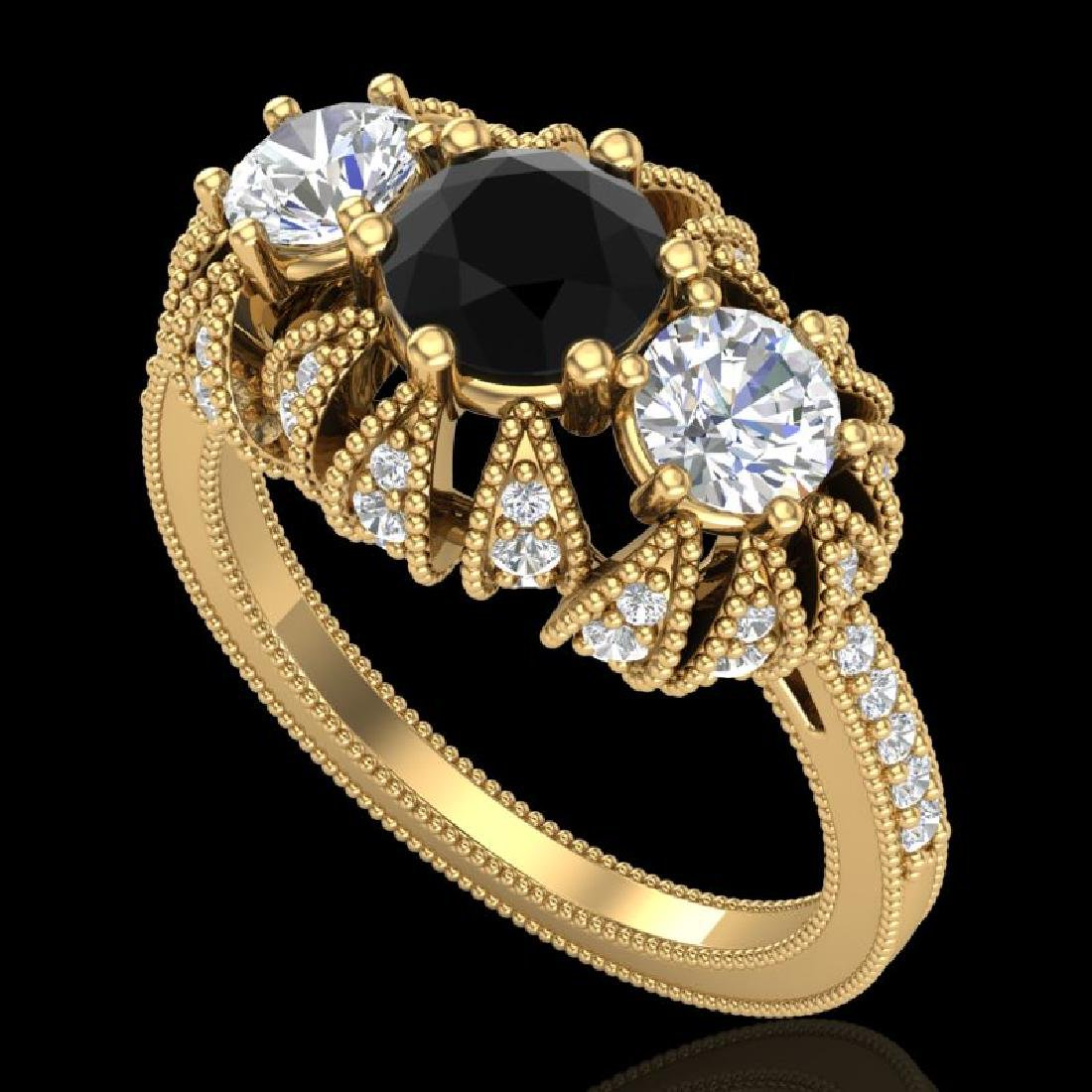 2.26 CTW Fancy Black Diamond Solitaire Art Deco 3 Stone