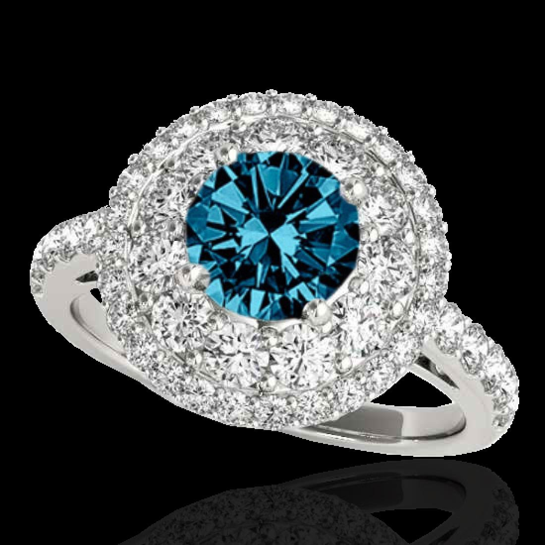 2.09 CTW SI Certified Fancy Blue Diamond Solitaire Halo