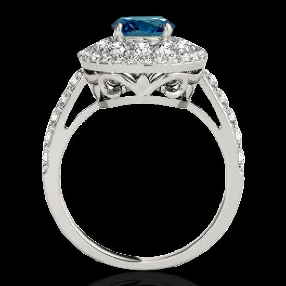 2.09 CTW SI Certified Fancy Blue Diamond Solitaire Halo - 2
