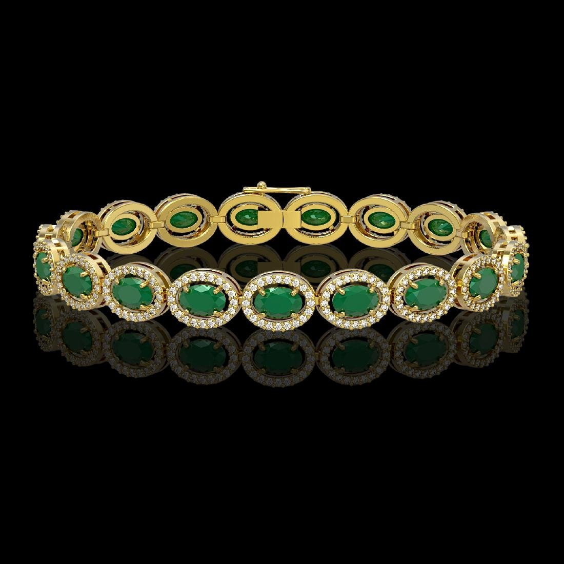 15.2 CTW Emerald & Diamond Halo Bracelet 10K Yellow